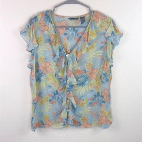 Hillard /& Hanson Knit Top NWT Multi-color Floral Polka Dot 3//4 Sleeve Stretch